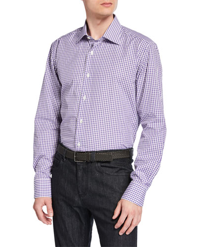 Men's Impeccabile 2-Ply Cotton Check Dress Shirt