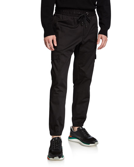 Dolce & Gabbana Men's Stretch-Cotton Cargo Sweatpants with Side Stripes