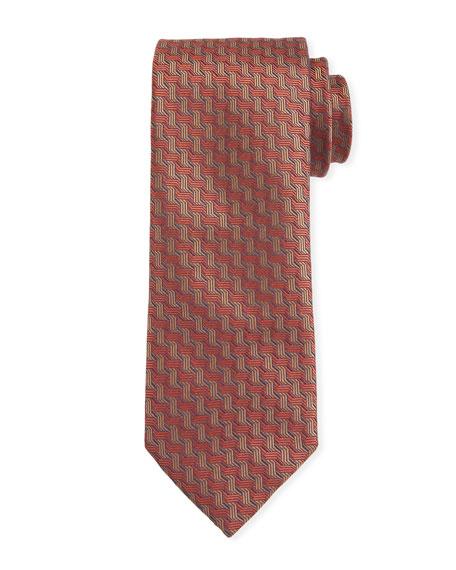 Canali Men's Contemporary Braid Silk Tie, Rust