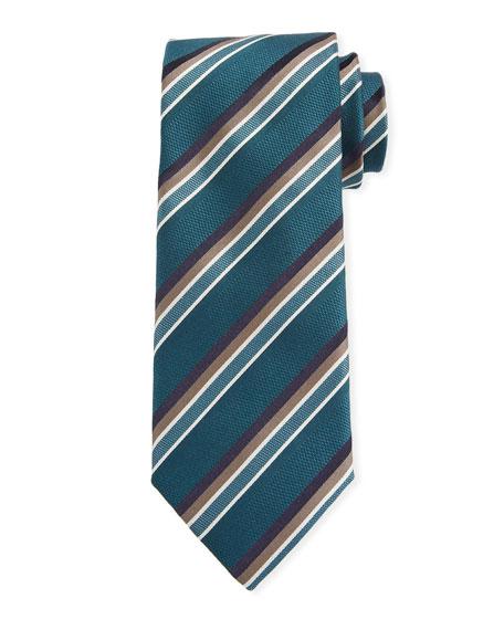 Canali Barathea Striped Silk Tie, Green