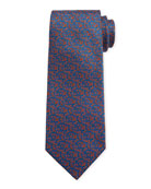 Canali Men's Triangle Neat Silk Tie, Blue