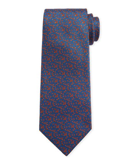 Canali Men's Triangle Neat Silk Tie, Blue