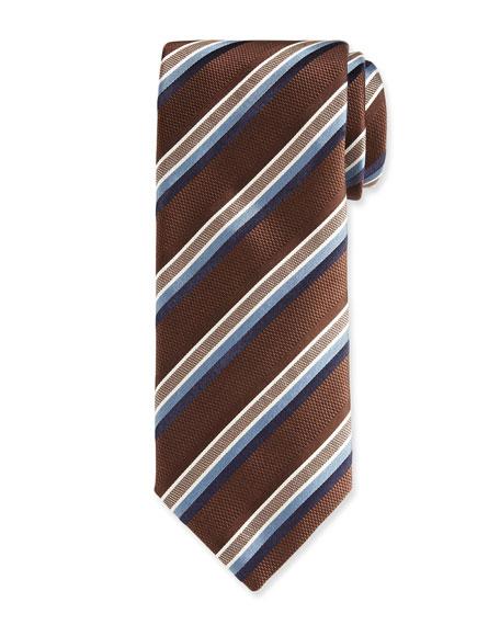 Canali Barathea Striped Silk Tie, Brown