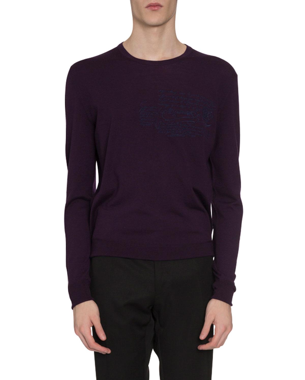 Berluti Sweaters MEN'S SCRITTO CREWNECK WOOL SWEATER