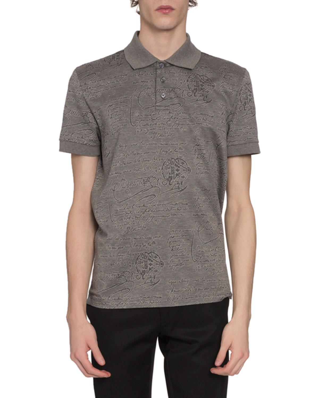 Berluti T-shirts MEN'S SCRITTO-PRINT POLO SHIRT, GRAY