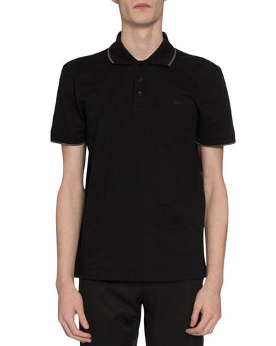 Men's Tipped Pique-Knit Polo Shirt, Black