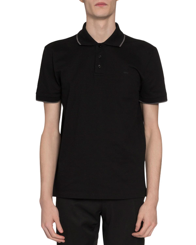 Berluti Knitwear MEN'S TIPPED PIQUE-KNIT POLO SHIRT, BLACK