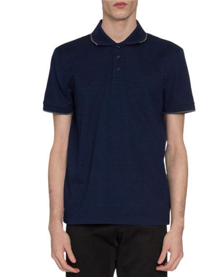 Berluti Men's Tipped Pique-Knit Polo Shirt, Royal