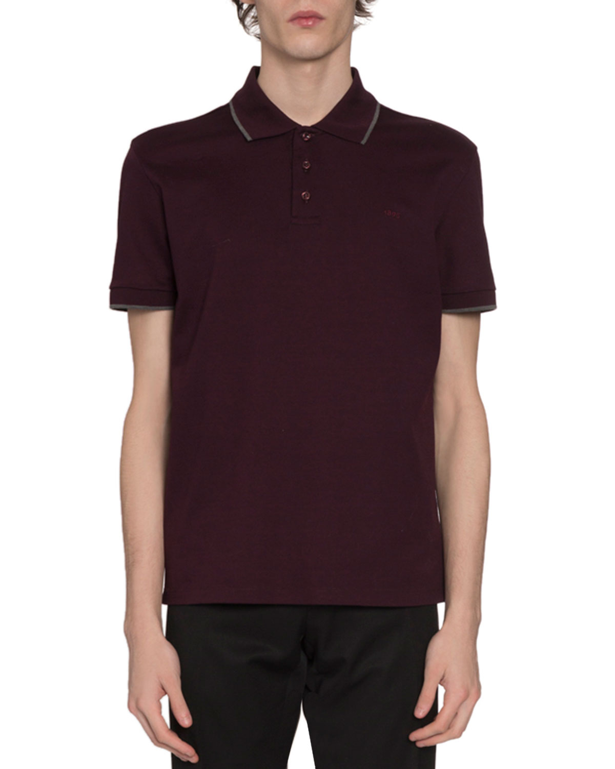 Berluti Knits MEN'S TIPPED BASIC PIQUE-KNIT POLO SHIRT, PURPLE