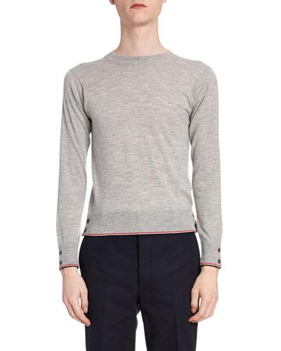 Men's Heathered Cashmere Crewneck Sweater