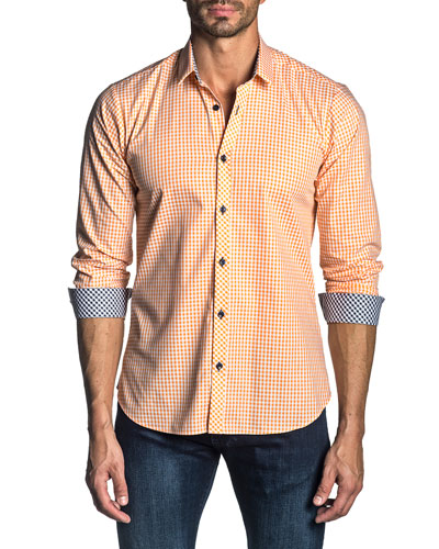 Men's Long-Sleeve Gingham Check Sport Shirt