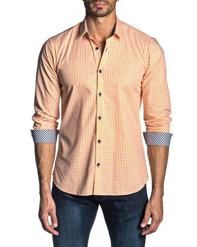 Men's Long-Sleeve Gingham Check Sport Shirt