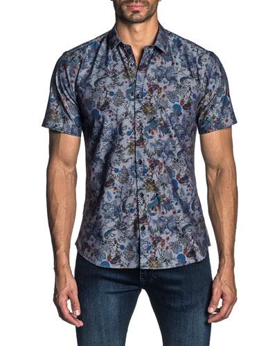 Men's Short-Sleeve Geisha Print Sport Shirt