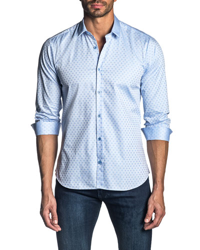 Men's Long-Sleeve Solid Jacquard Sport Shirt