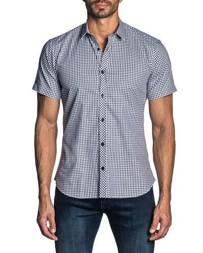 Men's Short-Sleeve Gingham Check Sport Shirt
