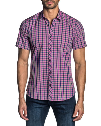Men's Short-Sleeve Check-Pattern Sport Shirt