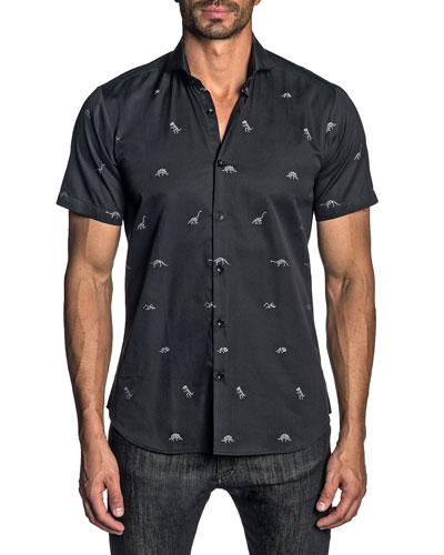 Men's Modern-Fit Short-Sleeve Dinosaur Print Sport Shirt