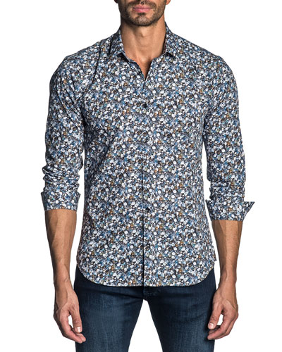 Men's Long-Sleeve Floral Print Sport Shirt