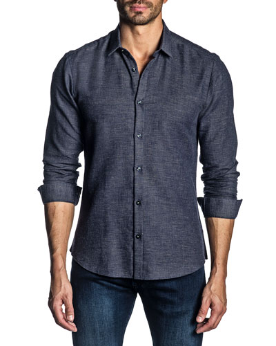 Men's Long-Sleeve Solid Knit Sport Shirt