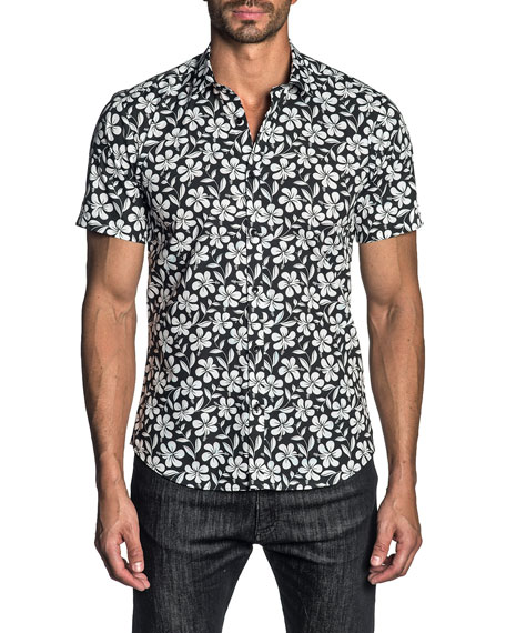 Jared Lang Men's Two-Tone Floral Sport Shirt