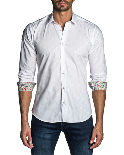 Men's Modern-Fit Long-Sleeve Jacquard Shirt