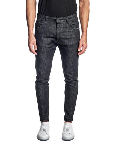 Men's Skinny Black-Wash Jeans