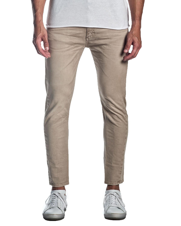 Men's Skinny Solid Khaki Jeans