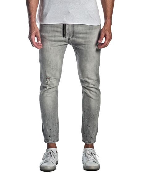 Jared Lang Men's Distressed Jeans w/ Zipper Detail