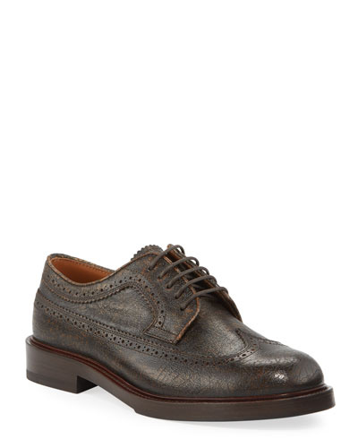 Men's Antiqued Leather Wing-Tip Derby Shoes