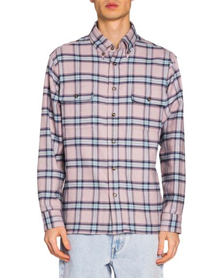 Isabel Marant Men's Plaid Flannel Sport Shirt