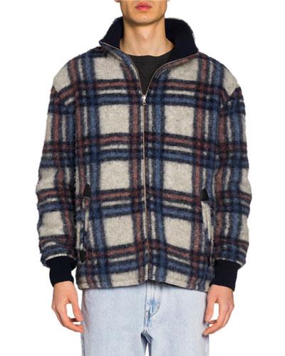 Men's Plaid Wool Bomber Jacket