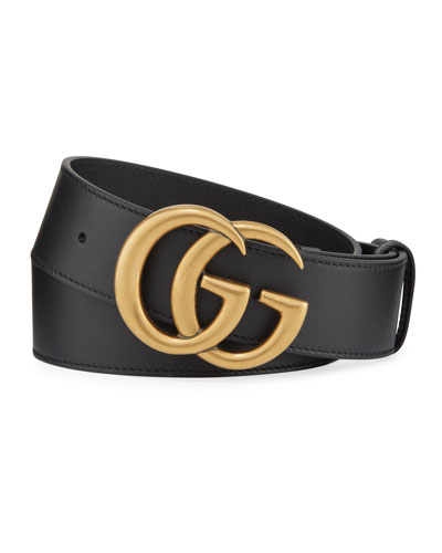 Men's Running GG Logo Leather Belt