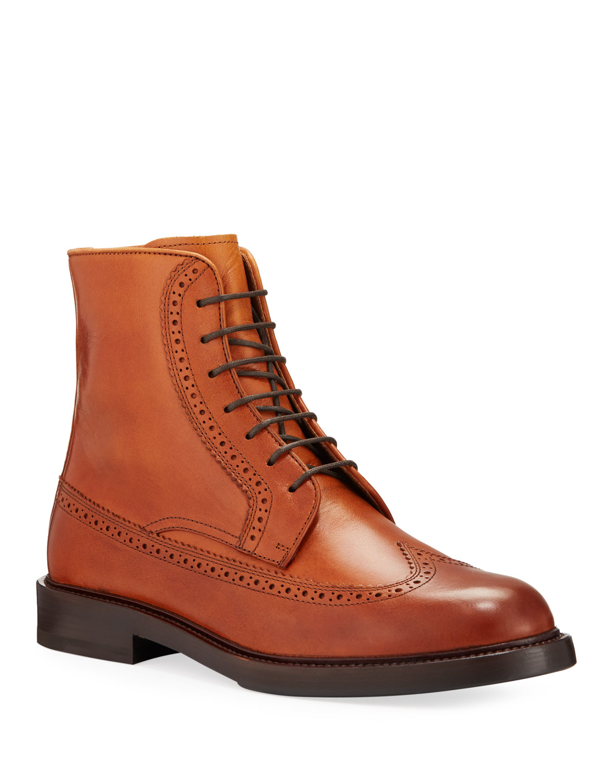 Men's Brogue Leather Derby Boots