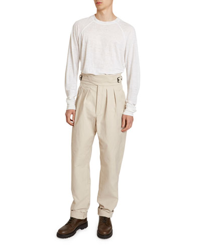Men's Geny Pleated-Front Cummerbund Pants
