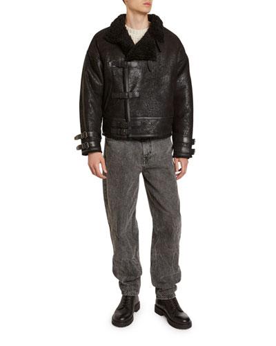 Men's Aylias Shiny Cotton Jacket with Shearling Collar