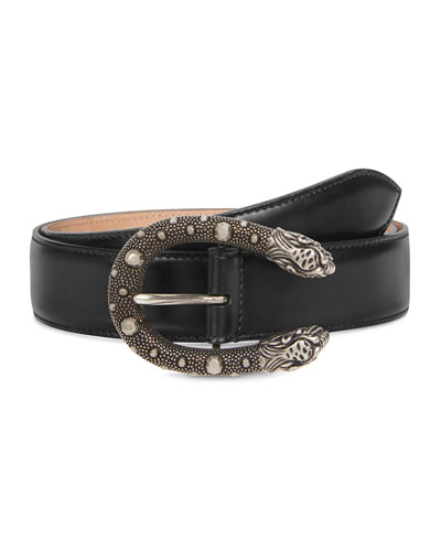 Men's Dionysus Leather Belt with Ornate Silvertone Buckle