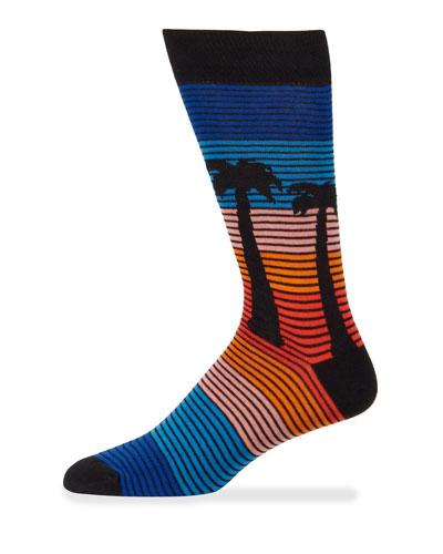 Men's Striped Palm Tree Cotton Socks