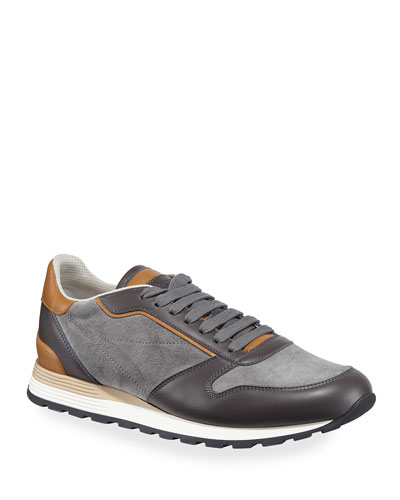 Men's Suede & Leather Athletic Sneakers