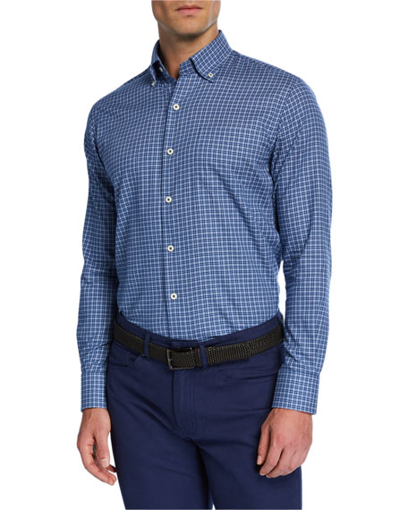 Peter Millar Men's Crown Ease Stretch-Check Sport Shirt