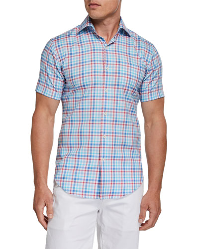 Men's Plaid Short-Sleeve Pocket Sport Shirt