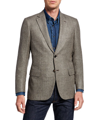 Men's Basketweave Wool/Silk Two-Button Jacket