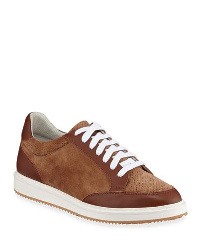 Men's Perforated Suede Low-Top Sneakers