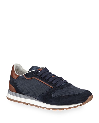 Men's Suede & Mesh Runner Sneakers
