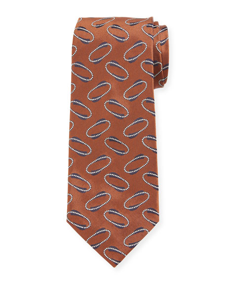 Isaia Men's Ovals Silk Tie, Tobacco