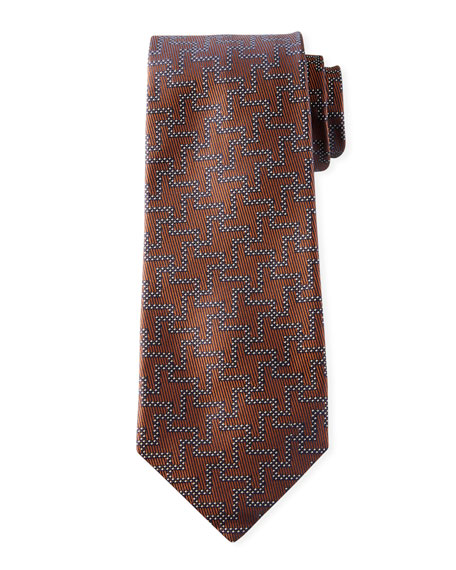Isaia Men's Silk Exploded Houndstooth Tie, Tobacco