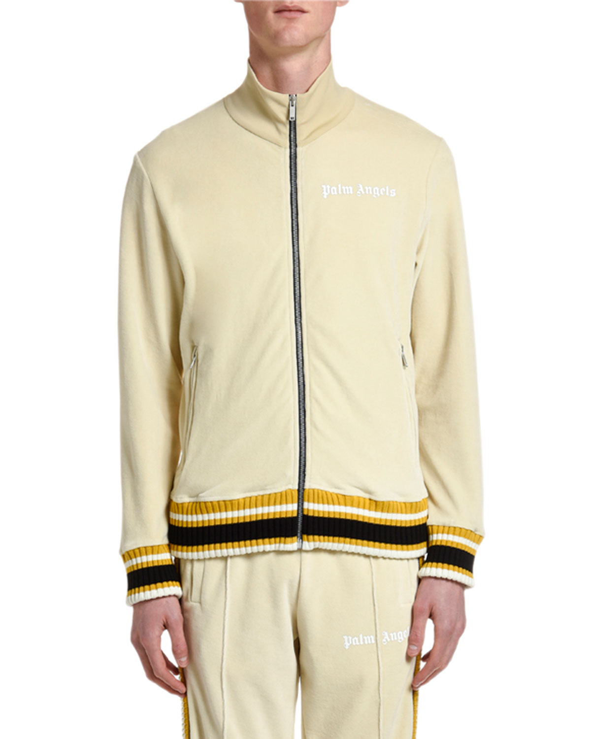 Palm Angels Jackets MEN'S CHENILLE TRACK JACKET WITH STRIPES