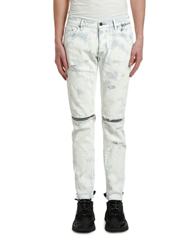 Men's Light-Wash Zipped Skinny Jeans w/ Distressing