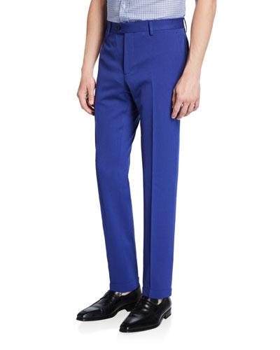 Men's Solid Wool Straight-Leg Trousers