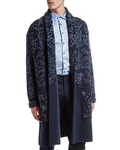 Men's Paisley Knit Long Cardigan