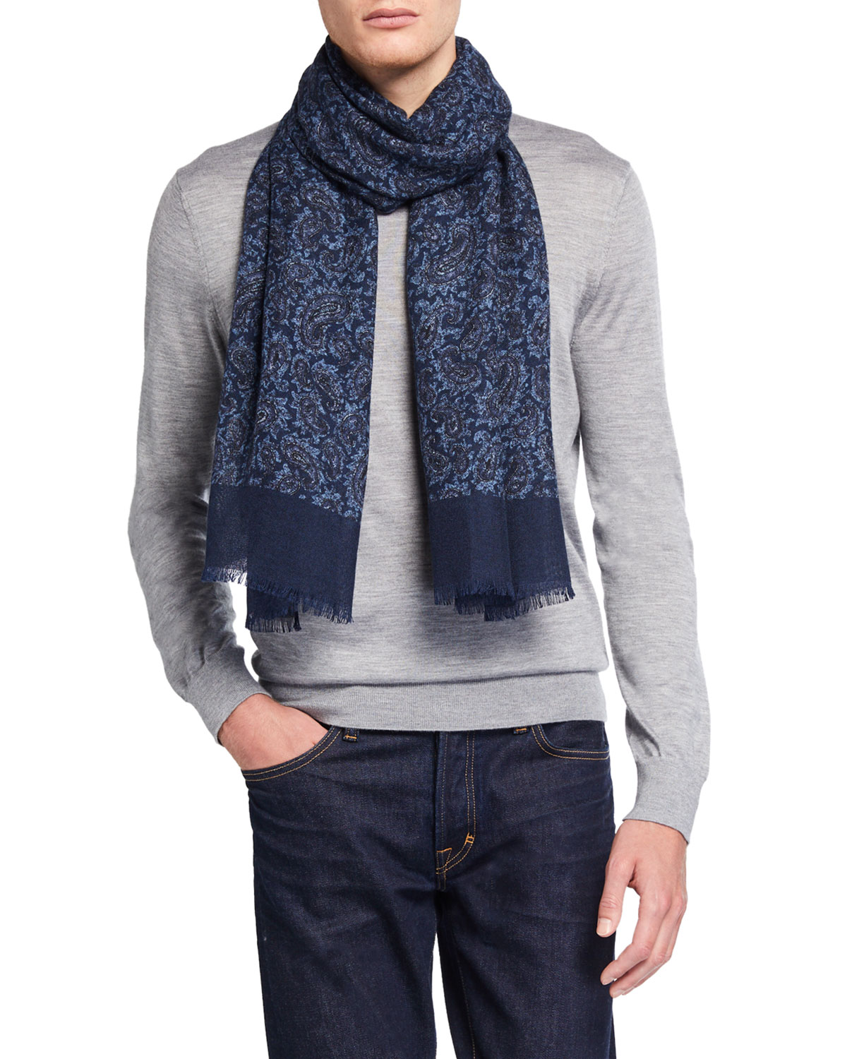 Isaia Accessories MEN'S PAISLEY CASHMERE SCARF